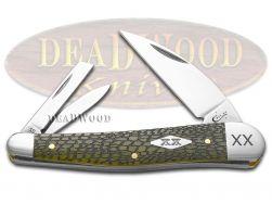 Case xx Seahorse Whittler Knife Alligator Skin Olive Green Bone 1/500 Stainless