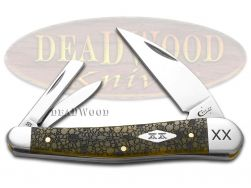 Case xx Seahorse Whittler Knife Lizard Skin Olive Green Bone 1/500 Stainless