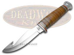 Case xx Fixed Blade Gut Hook Hunter Knife Mushroom Cap Brown Leather 10340
