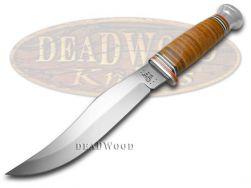 Case xx Fixed Blade Large Skinner Hunter Knife Mushroom Cap Brown Leather 10345