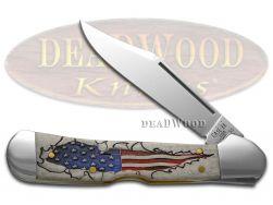 Case xx Copperlock Knife Natural Bone US Flag Stainless 10451 Pocket Knives