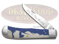 Case xx Christmas Backpocket Knife Joy to the World Natural Bone Stainless 10529