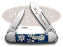 Case xx Merry Christmas Navy Blue Bone Snowflake Baby Butterbean 10538 Knife