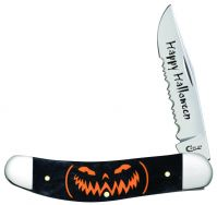 Case xx Happy Halloween Sowbelly Knife Black Bone Jack O�Lantern Stainless 10586