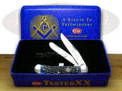 Case xx Masonic Trapper Knife Tin Gift Set Blue Bone Freemason Stainless 01058
