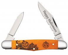 Case xx Happy Halloween Half Whittler Knife Orange Bone Stainless 10602