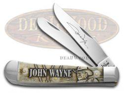 Case xx John Wayne Trapper Knife Embossed Natural Bone Stainless Pocket 10699