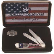 Case xx John Wayne Trapper Knife Red, White & Blue Bone Stainless Pocket 10702