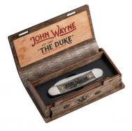Case xx John Wayne Canoe Knife Amber Bone Wood Grain Etching Stainless 10706