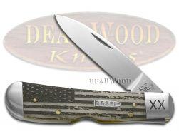 Case xx Tribal Lock Knife U.S. Flag Natural Bone 1/500 Stainless Pocket Knives