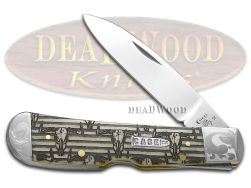 Case xx Tribal Lock Knife Scrolled Western Bull Skull Natural Bone 1/200 Pocket