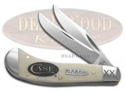 Case xx Saddlehorn Knife Logo Etched Natural Bone 1/500 Stainless Pocket Knives
