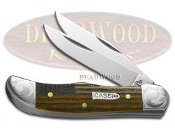 Case xx Pocket Hunter Knife US Flag Antique Bone Scrolled Stainless 1/300