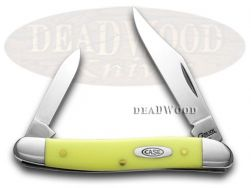 Case xx Pen Knife Yellow Delrin Handle CV Chrome Vanadium Pocket Knives 00109