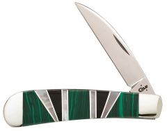 Case xx Sway Back Gent Knife Genuine Green Malachite Exotic Stainless 11154