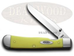 Case xx Trapperlock Knife Yellow Delrin CV Chrome Vanadium Pocket Knives 00111