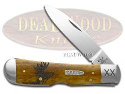Case xx Tribal Lock Knife Deer Scene Antique Bone 1/500 Stainless Pocket Knives