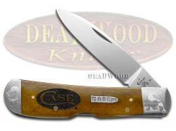 Case xx Tribal Lock Knife Scrolled Logo Antique Bone 1/500 Stainless Pocket