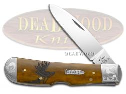 Case xx Tribal Lock Knife Scrolled Deer Scene Antique Bone 1/500 Stainless