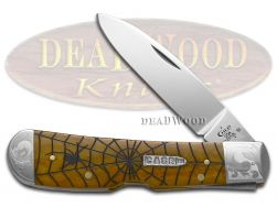 Case xx Tribal Lock Knife Scrolled Spider Web Antique Bone 1/500 Stainless