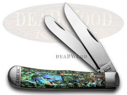 Case xx Trapper Knife Genuine Abalone Stainless Pocket Knives 12000