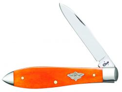 Case xx Tear Drop Gent Knife Smooth Orange Persimmon Bone Stainless Pocket 12037