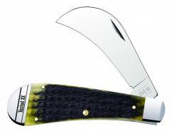Case xx Hawkbill Pruner Knife Jigged Olive Green Bone Stainless 13284 Pocket