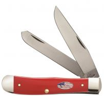Case xx Trapper Knife Red Delrin American Workman Stainless Pocket Knives 13450