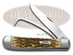 Case xx Equestrian Knife Jigged Amber Bone Stainless Horse Pocket Knives 00144