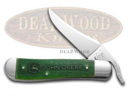 Case xx John Deere Russlock Knife Embellished Green Bone Stainless Pocket 15753