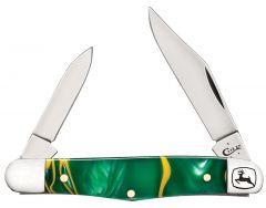 Case xx John Deere Half Whittler Knife Green & Yellow Swirl Kirinite 15760