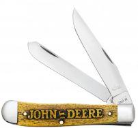 Case xx John Deere Trapper Knife Yellow Color Wash Natural Bone 15770 Knives
