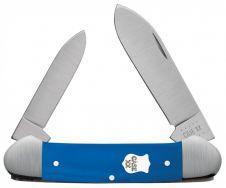 Case xx Canoe Knife Blue G-10 Satin Bolster Stainless 16743 Pocket Knives