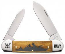 Case xx U.S. Navy Canoe Knife Battleship Antique Bone Stainless 17720 Pocket