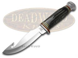 Case xx Fixed Blade Guthook Knife Genuine Buffalo Horn Handle Stainless 17914