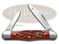Case xx Boy Scouts Half Whittler Knife Jigged Red Bone Stainless Pocket 18041