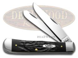 Case xx Trapper Knife Rough Black Delrin Stainless Pocket Knives 18221
