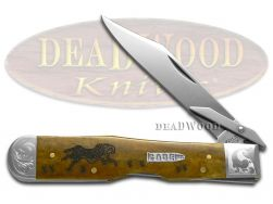 Case xx Cheetah Knife Scrolled Antique Bone Running Cheetah 1/200 Pocket Knives