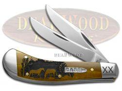 Case xx Saddlehorn Knife Horses Antique Bone 1/500 Stainless Pocket Knives