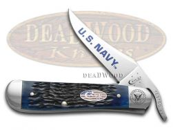 Case xx U.S. Navy Russlock Knife Jigged Blue Bone Stainless Pocket Knives 22552