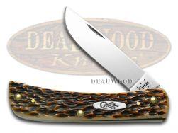 Case xx Sodbuster Jr. Knife Jigged Amber Bone Stainless Pocket Knives 00245