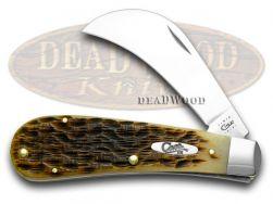 Case xx Hawkbill Pruner Knife Jigged Amber Bone Stainless Pocket Knives 00249