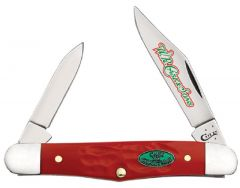 Case xx Christmas Half Whittler Knife Jigged Red Delrin Stainless Pocket 25676