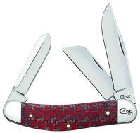 Case xx Sowbelly Knife Smooth Red & Black Carbon Fiber & G-10 Weave CV 25929