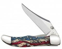 Case xx Mid Folding Hunter Knife Vintage Flag USA Red White & Blue Bone 36035