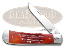 Case xx Backpocket Knife Deep Canyon Red Bone Stainless Pocket Knives 37882