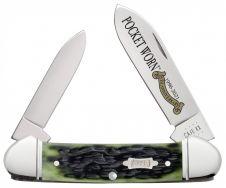 Case xx Pocket Worn 25th Anniversary Canoe Knife Jigged Olive Green Bone 38193