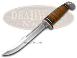Case xx Slim Fixed Blade Hunter Knife Polished Leather Handle Stainless 00381