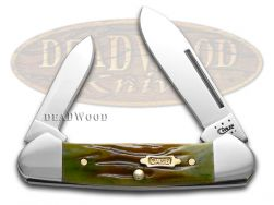 Case xx Baby Butterbean Knife Worm Groove Moss Brown Bone 1/1000 Stainless 41402