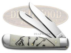 Case xx Trapper Knife Poker Card Hand Natural Bone Stainless Pocket Knives 43405
